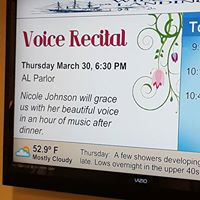 Voice Recital Thursday March 30, 6:30pm AL Parlor Nicole Johnson will grace us with her beautiful voice in an hour of music after dinner.